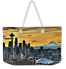 Seattle Skyline - Mt Rainier Weekender Tote Bag by Greg Sigrist