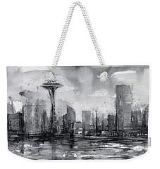 Seattle Skyline Painting Watercolor  Weekender Tote Bag by Olga Shvartsur