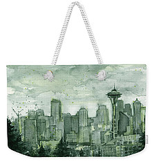 Seattle Skyline Watercolor Space Needle Weekender Tote Bag