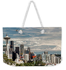 Seattle Space Needle With Mt. Rainier Weekender Tote Bag