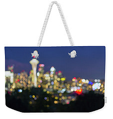Seattle Washington City Skyline At Dusk Out Of Focus Bokeh Weekender Tote Bag