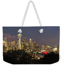 Seattle Washington City Skyline At Dusk Panorama Weekender Tote Bag