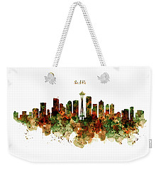 Weekender Tote Bag featuring the mixed media Seattle Watercolor Skyline Poster by Marian Voicu