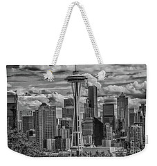 Seattle's Urban Landscape - Black And White Weekender Tote Bag