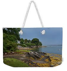 Seaweed Covered Rocks On The Coast Of Bustin's Island Weekender Tote Bag by DejaVu Designs