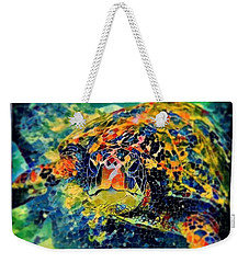 Weekender Tote Bag featuring the digital art Sebastian The Turtle by Erika Swartzkopf