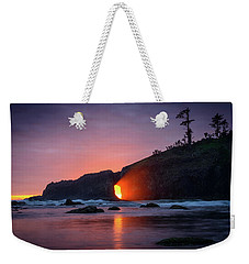Weekender Tote Bag featuring the photograph Second Beach Light Shaft by Dan Mihai