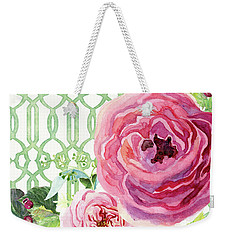 Weekender Tote Bag featuring the painting Secret Garden 3 - Pink English Roses With Woodsy Fern, Wild Berries, Hops And Trellis by Audrey Jeanne Roberts