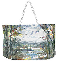 Weekender Tote Bag featuring the painting Secret Sailing Spot by Reed Novotny