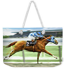 Secretariat On The Back Stretch At The Belmont Stakes Weekender Tote Bag