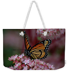 Weekender Tote Bag featuring the photograph Sedum Butterfly by Melissa Lane