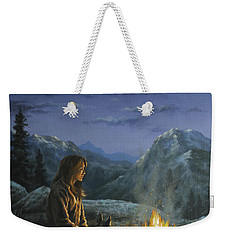 Weekender Tote Bag featuring the painting Seeking Solace by Kim Lockman