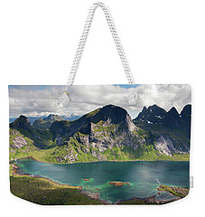 Segltinden And Kirkefjord From Brunakseltind Weekender Tote Bag