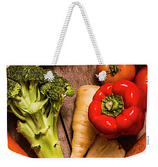 Selection Of Fresh Vegetables On A Rustic Table Weekender Tote Bag by Jorgo Photography - Wall Art Gallery