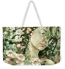 Self Portrait With Aplle Flowers Weekender Tote Bag by Vali Irina Ciobanu