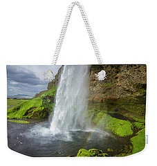 Seljalandsfoss With Rainbow, Iceland Weekender Tote Bag