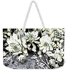 Sempervivum - Ebony And Ivory  Weekender Tote Bag by Janine Riley