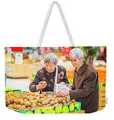 Senior Man And Woman Shopping Fruit Weekender Tote Bag