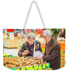 Senior Man And Woman Shopping Fruit Weekender Tote Bag