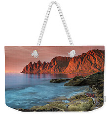 Senja Red Weekender Tote Bag by Alex Conu