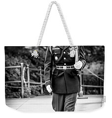 Weekender Tote Bag featuring the photograph Sentinel At The Tomb Of The Unknowns by David Morefield