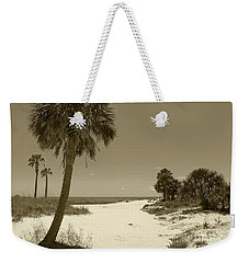 Weekender Tote Bag featuring the photograph Sepia Beach by Jeanne Forsythe