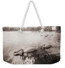 Sepia Swans Weekender Tote Bag