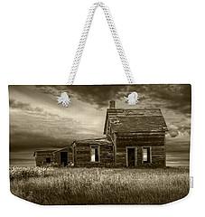 Sepia Tone Of Abandoned Prairie Farm House Weekender Tote Bag