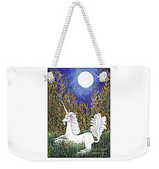 Weekender Tote Bag featuring the painting September Unicorn by Lise Winne