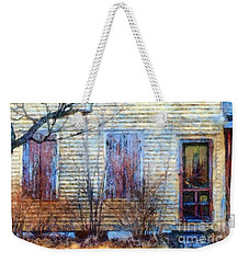 Weekender Tote Bag featuring the photograph September's Gone - Yellow Farmhouse Windows by Janine Riley