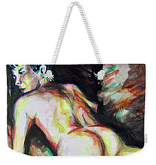 Weekender Tote Bag featuring the painting Septemeber Morning Figure  by Rene Capone