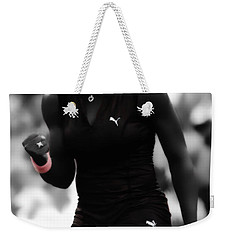 Serena Williams On Fire Weekender Tote Bag by Brian Reaves