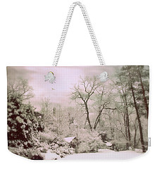 Weekender Tote Bag featuring the photograph Serene In Snow by Jessica Jenney