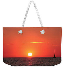 Serene Sailboat Sunset Weekender Tote Bag by Ellen O'Reilly