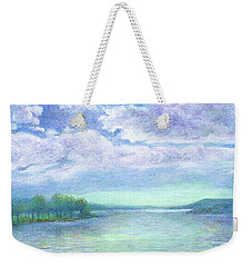 Weekender Tote Bag featuring the painting Serenity Blue Lake by Judith Cheng