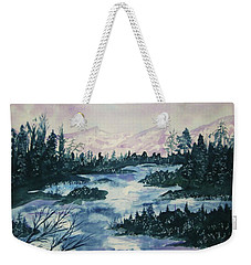 Weekender Tote Bag featuring the painting Serenity IIi by Ellen Levinson