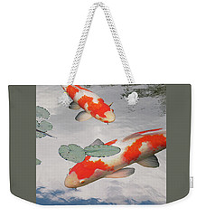 Serenity - Red And White Koi Weekender Tote Bag by Gill Billington