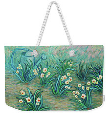 Weekender Tote Bag featuring the painting Seven Daffodils by Xueling Zou