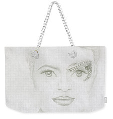 Weekender Tote Bag featuring the drawing Seven by Kim Sy Ok