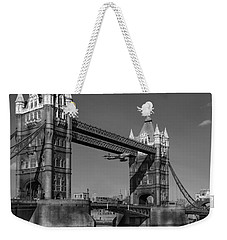Weekender Tote Bag featuring the photograph Seven Seconds - The Tower Bridge Hawker Hunter Incident Bw Versio by Gary Eason