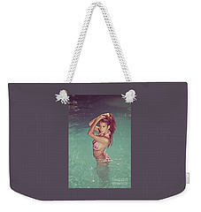 Sexy Woman In Bikini In The Water And Retro Look Image Finish Weekender Tote Bag