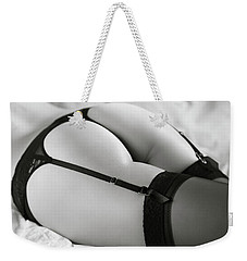 Sexy Woman In Lingerie Lying On A Bed Weekender Tote Bag
