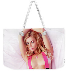 Sexy Young Topless Blond Woman In Pink Jeans With Suspenders Weekender Tote Bag