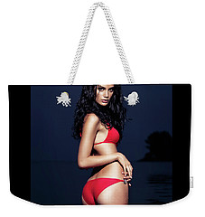 Sexy Young Woman In Red Bikini Swimsuit Standing In Water Weekender Tote Bag