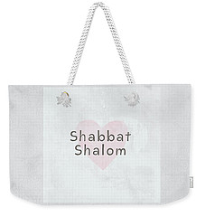 Weekender Tote Bag featuring the mixed media Shabbat Shalom Soft Heart- Art By Linda Woods by Linda Woods