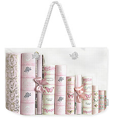 Weekender Tote Bag featuring the photograph Shabby Chic Pink Books Collection - Paris Pink Books Art Prints Home Decor by Kathy Fornal