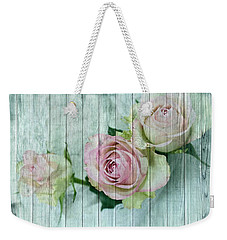 Shabby Chic Pink Roses On Blue Wood Weekender Tote Bag