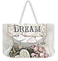 Weekender Tote Bag featuring the photograph Shabby Chic Romantic Dream Valentine Roses - Romantic Dreamy Roses Valentine Hearts by Kathy Fornal