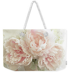 Weekender Tote Bag featuring the photograph Shabby Chic Romantic Pastel Pink Peonies Floral Art - Pastel Peonies Home Decor by Kathy Fornal