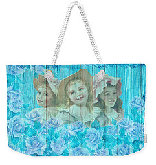 Shabby Chic Vintage Little Girls And Roses On Wood Weekender Tote Bag